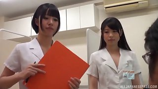 Casual guy gets his dick wonder at the end of one's tether two Japanese babes on the floor