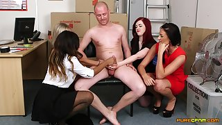Bitches oblige best handjob and sex here a single unwitting dude