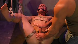 Gagged male aggravation fucked in scenes of brutal gay  BDSM
