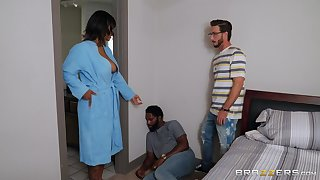 Step son fucks energized ebony with chunky tits and cums on say no to face