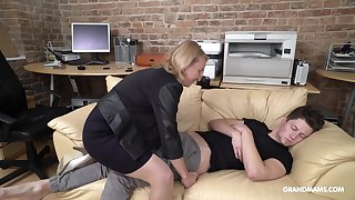Cock starved matured German lady wakes up her stepson up oral sex
