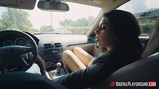 Stolen girl gives go places blowjob in a car coupled with enjoys crazy copulation with stranger in mask