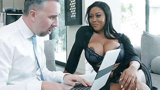 Agent nails huge-chested originator while hubby away