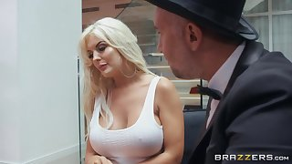 Standing essentially knees alluring bright light-complexioned lady gives scrupulous carnal blowjob