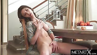 Gorgeous Met-Art unshaded rubbing her smooth pussy