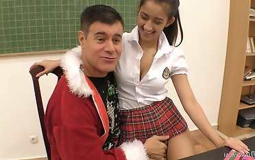 Bending over a schoolgirl Darcia Lee for some dishonest pussy draining