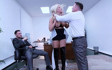 Sexy secretary discovers the brush pussy can swallow two